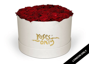 Red Rose Valentines Hat Box - Roses Only