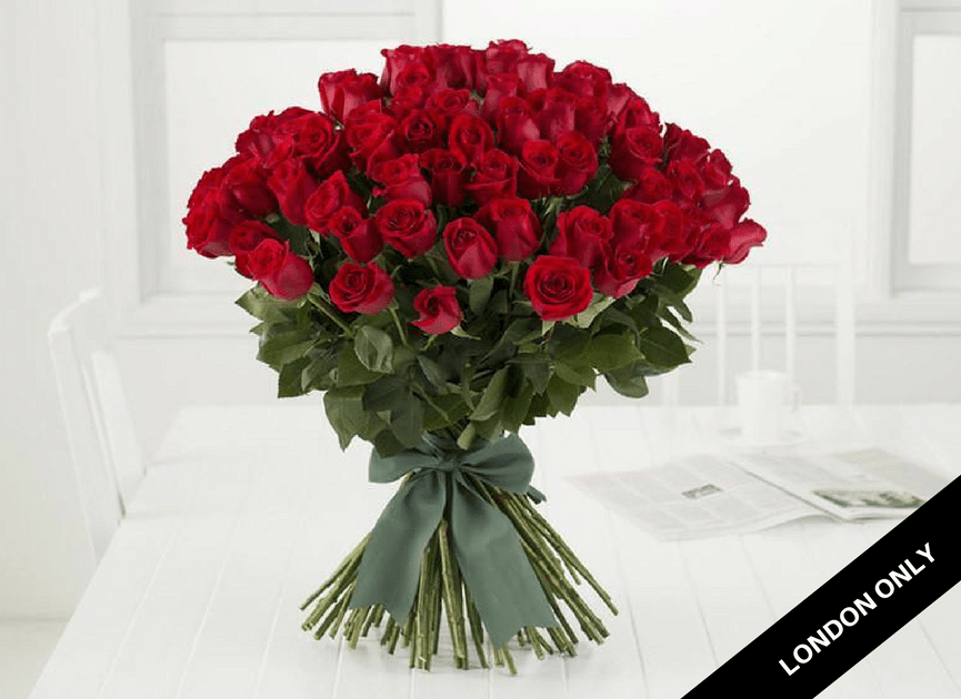 Statement 100 Red Roses Bouquet - Roses Only