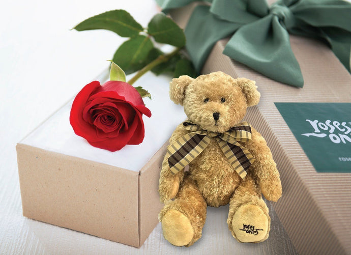 Single Red Roses Gift Box & Teddy Bear - Roses Only