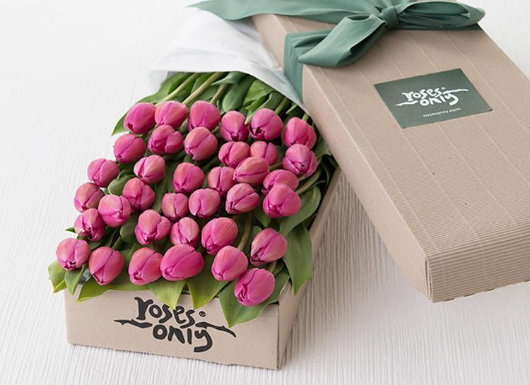 36 French Tulips Gift Box - Roses Only