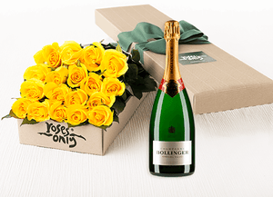 Yellow Roses Gift Box 18 & Champagne