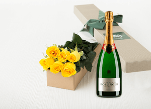 6 Yellow Roses Gift Box & Champagne