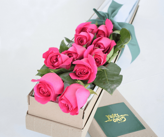 Bright Pink Short Roses Signature Box - Roses Only