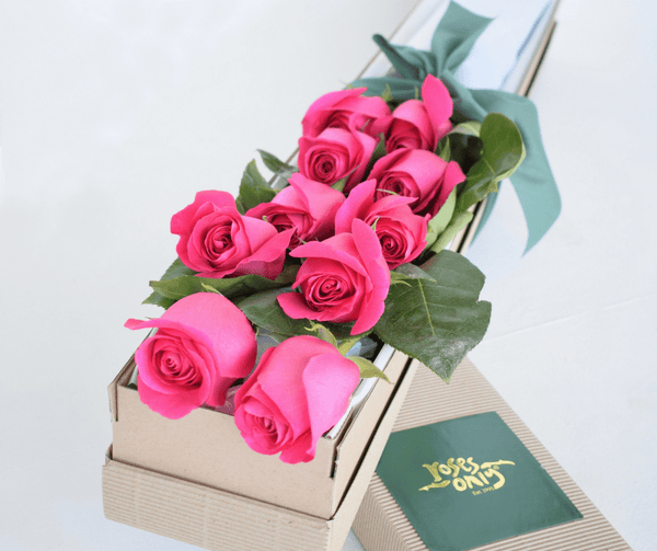 10 Bright Pink Short Roses Signature Box - Roses Only