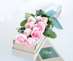 Pastel Pink Short Roses Signature Box - Roses Only