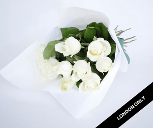 White Cream Short Roses Signature Bouquet - Roses Only