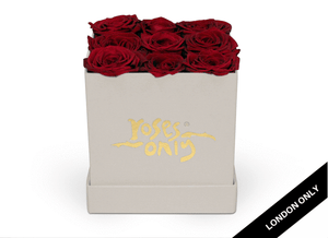 9 Red Rose Valentines Cube Hatbox - Roses Only