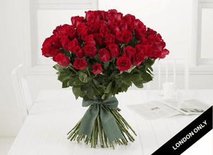Classic 50 Red Valentines Roses Bouquet - Roses Only