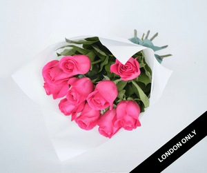 Bright Pink Short Roses Signature Bouquet - Roses Only