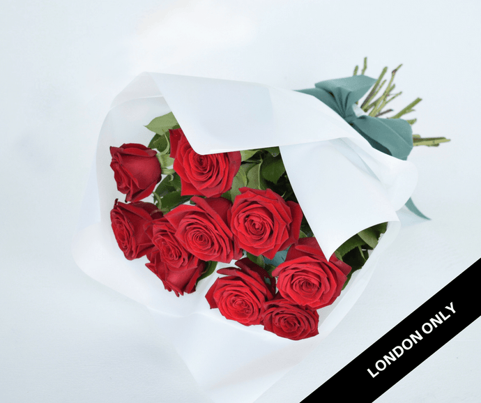 Red Roses Short Signature Bouquet - Roses Only