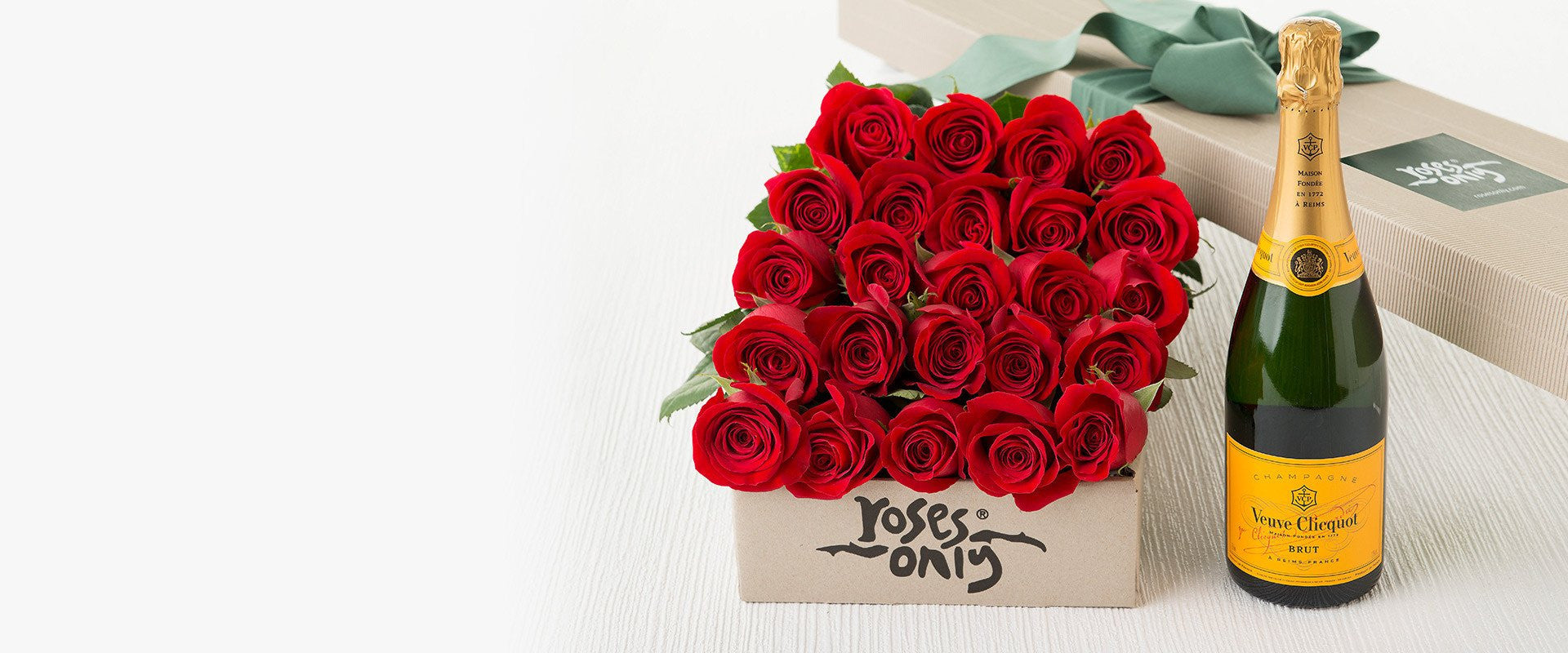 (Who said {romance} was dead?) 24 long stemmed red roses gift box + Veuve Clicquot 750mL