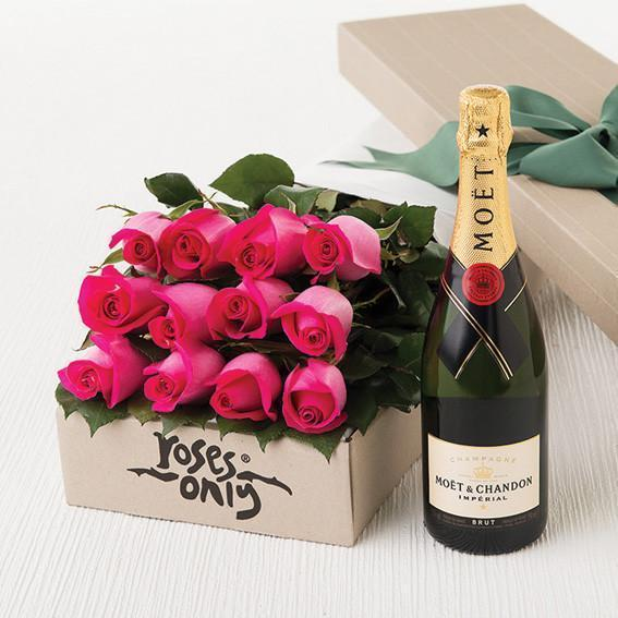Roses Only Signature Box & Champagne