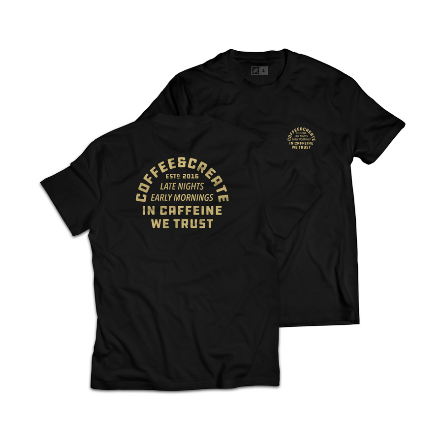In Caffeine We Trust Tee - Black/Pale Gold