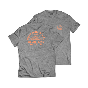 In Caffeine We Trust Tee - Heather Grey/Coral