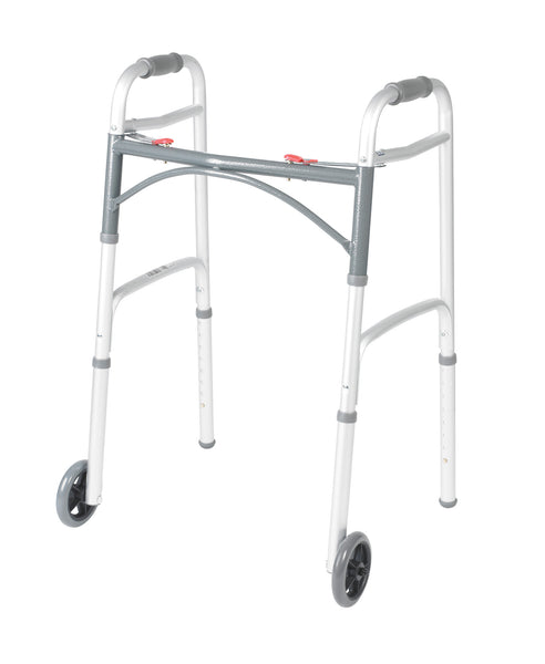 "Deluxe Two Button Folding Walker with 5"" Wheels (10210-1)"