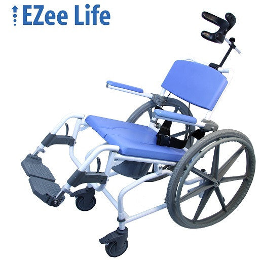"EZee Life 190-24 Aluminum Tilt Shower Commode Chair 18"" with 24"" wheels"