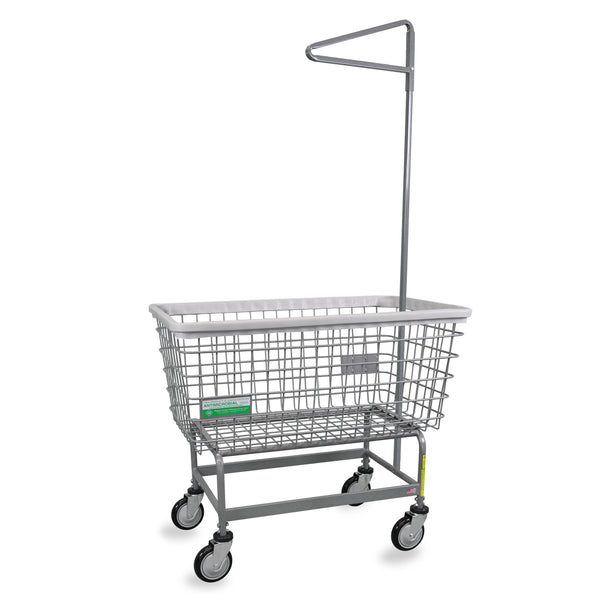 "R&B Wire 201H91/ANTI Antimicrobial  Mega Capacity ""Big Dog"" Laundry Cart w/ Single Pole Rack"