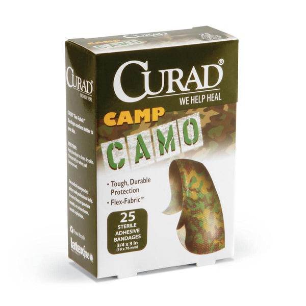 CURAD Camo Fabric Adhesive Bandages,Green Camoflauge,No (1Box/Box) (CUR45701) - MEDLINE Shop Now at LifeSupply.com