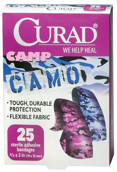 CURAD Camo Fabric Adhesive Bandages,Pink & Blue Camoflauge,No (1Box/Box) (CUR45702) - MEDLINE Shop Now at LifeSupply.com