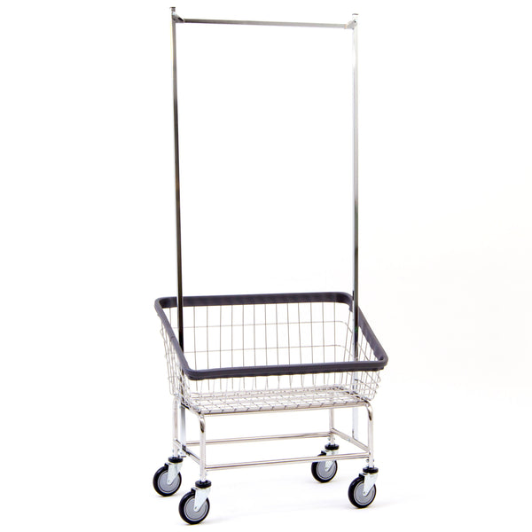 R&B Wire 200S56 Large Capacity Front Load Laundry Cart w/ Double Pole Rack
