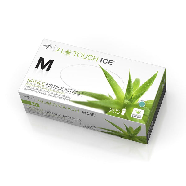 Aloetouch Ice Powder-Free Latex-Free Nitrile Exam Gloves,Green,Medium (2000/Case) (MDS195285) - MEDLINE Shop Now at LifeSupply.com