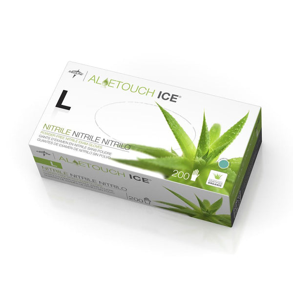 Aloetouch Ice Powder-Free Latex-Free Nitrile Exam Gloves,Green,Large (2000/Case) (MDS195286) - MEDLINE Shop Now at LifeSupply.com