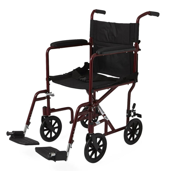 "Aluminum Transport Chair with 8"" Wheels,Red,F: 8   R: 8 (1/Case) (MDS808200ARE) - MEDLINE Shop Now at LifeSupply.com"