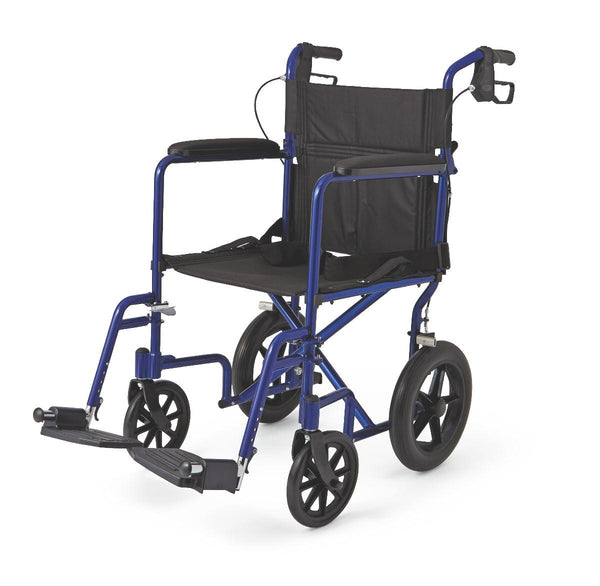 "Aluminum Transport Chair with 12"" Wheels,Blue,F: 8   R: 12 (1/Case) (MDS808210ABE) - MEDLINE Shop Now at LifeSupply.com"