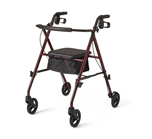 "Basic Steel Rollators,Burgundy,6"" (MDS86825SLRS) - MEDLINE Shop Now at LifeSupply.com"