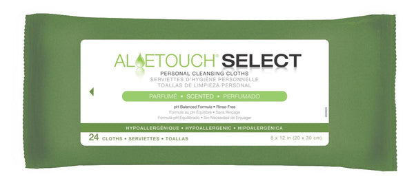 Aloetouch SELECT Premium Spunlace Personal Cleansing Wipes (24Pack/Case) (MSC095280) - MEDLINE Shop Now at LifeSupply.com