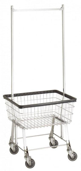 R&B Wire 96B58 Economy Laundry Cart w/ Double Pole Rack