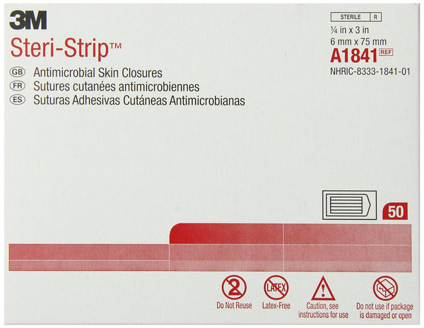 "3M Steri-Strip Antimicrobial Skin Closures A1841 Tan 1/4x3"" (127427CS) 200/CS"