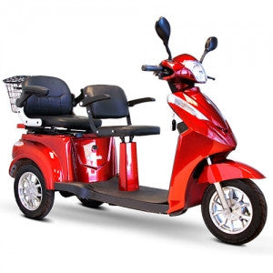 EW-66 2 Passenger 3 Wheel 600lbs Wt Capacity 2 Passenger Scooter Red
