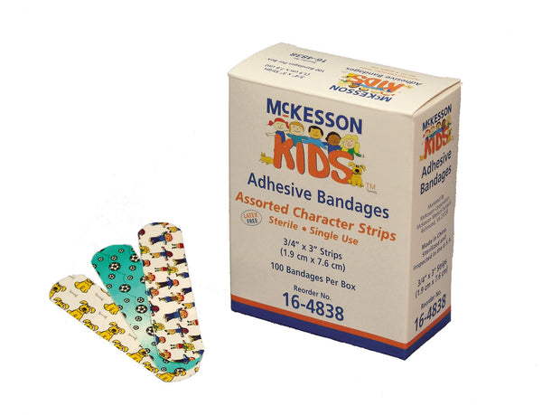 "McKesson KIDS Plastic Kids Adhesive Bandages 16-4838 Assorted Print .75x3"" (466879BX) 100/BX"