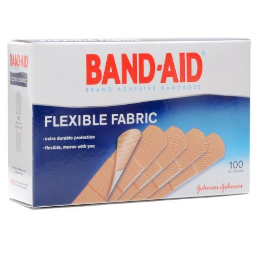 "Band-Aid Flexible Fabric Adhesive Bandages 8137004444 Tan 1x3"" (785430BX) 100/BX"