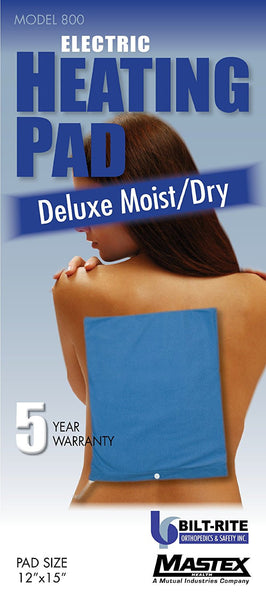 Bilt-Rite Deluxe Moist/Dry Heat Pad - 5 Year Warranty Blue (800-220)