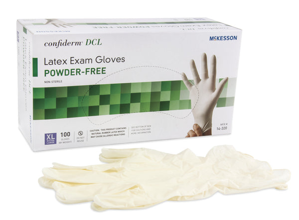 McKesson Confiderm Performance Powder-Free Latex Exam Glove 14-320 Ivory  (483972CS) 1000/CS