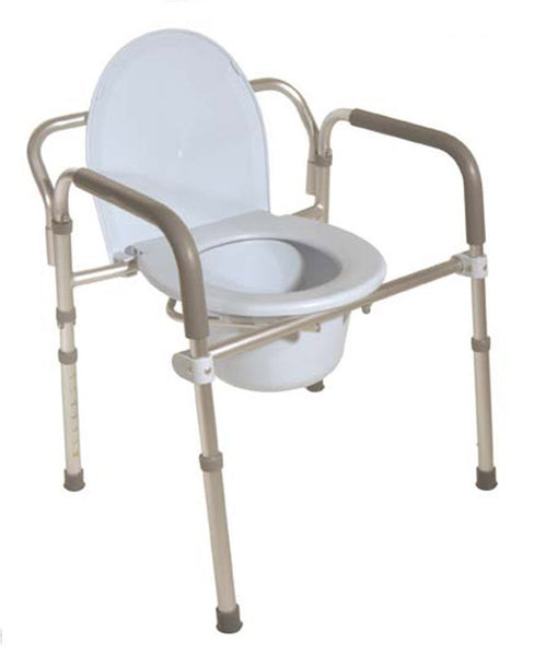 Drive Medical Folding Aluminum Commode with Padded Armrests 11149-4   (804436CS) 4/CS