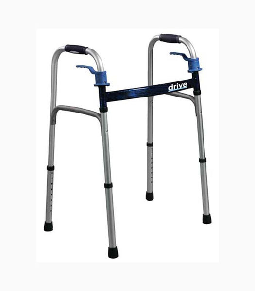 Drive Medical Deluxe Trigger Release Folding Walker with Wheels 10226-4 Flame Blue  (586454CS) 4/CS