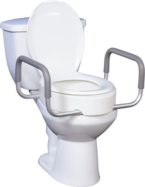 "Drive Medical Premium Raised Toilet Seat with Removable Arms 12402 White 13-3/4""x17""x3-1/2"" (876649EA) 1/EA"