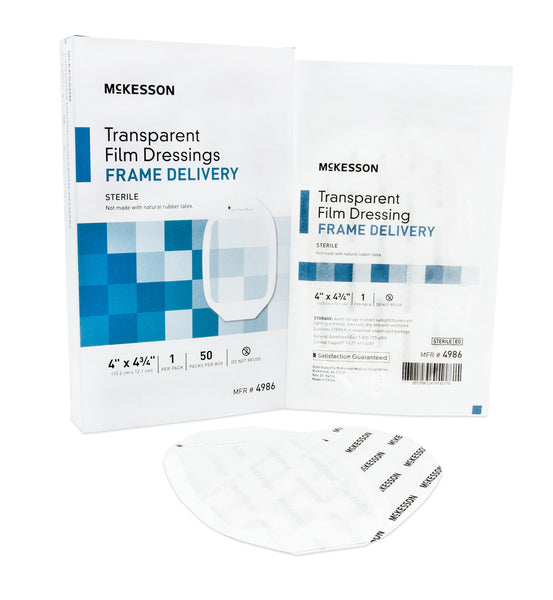 "McKesson Transparent Film Dressing 4986  4x4-3/4"" (886409BX) 50/BX"