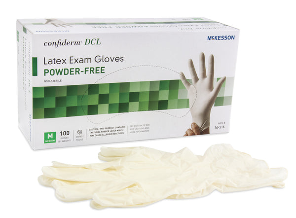 McKesson Confiderm Performance Powder-Free Latex Exam Glove 14-316 Ivory  (354436CS) 1000/CS