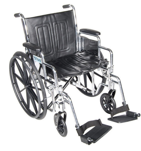 "Drive Medical Chrome Sport Wheelchair 20"" Seat CS20DDA-ELR   (797308EA) 1/EA"