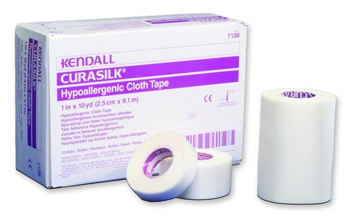 "Kendall Curasilk Hypoallergenic Silk Tape 7138C White 1""x10 Yards (696201CS) 120/CS"