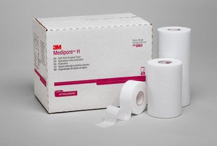 "3M Medipore H Soft Cloth Surgical Tape 2861 White 1""x10 Yards (443997CS) 24/CS"