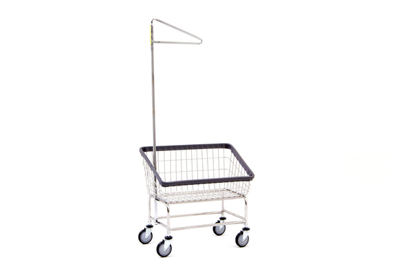 R&B Wire 200S91 Large Capacity Front Load Laundry Cart w/ Single Pole Rack
