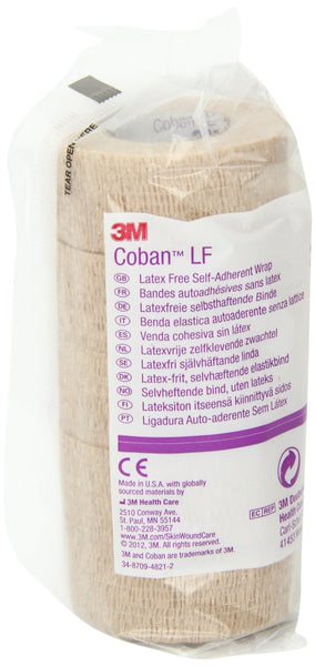 "3M Coban Latex-Free Self-Adherent Wrap 2083 Tan 3""x5 Yard (388424CS) 24/CS"