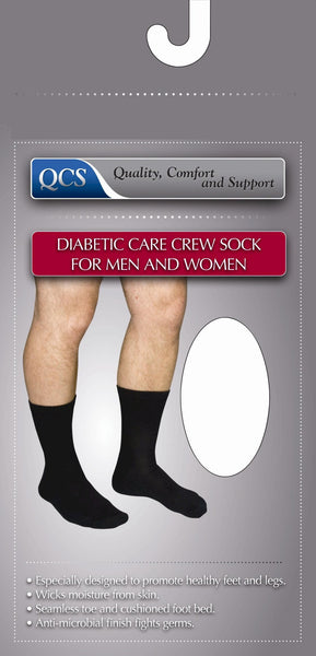 Diabetic Compression Crew Socks 1680 BLA LG Black  (762539PR) 1/PR