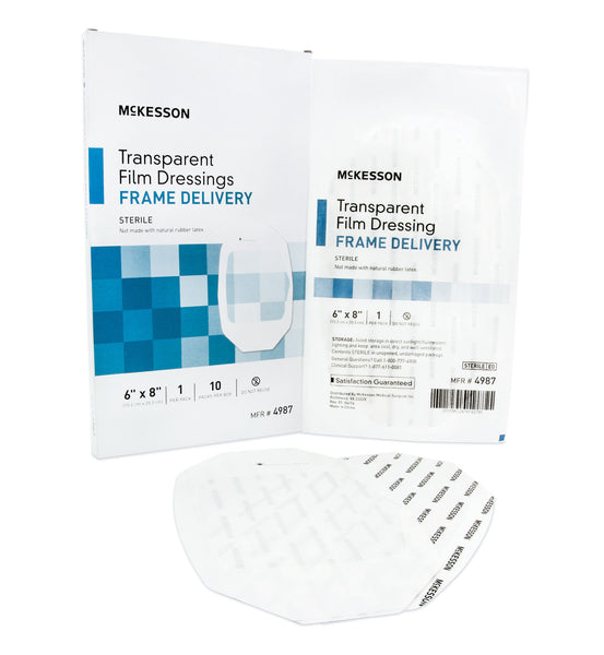 "McKesson Transparent Film Dressing 4987  6x8"" (886410BX) 10/BX"