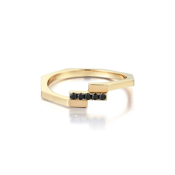 Adira Stacking Ring <br> with Black Diamonds